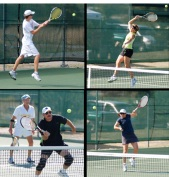 Photo caption: Upper left: Men's champion Drew Beckman pounds a high backhand; upper right: Mary Beth Collingwood reaches for an overhead in the mixed doubles final; lower left: Tom Pal volleys as teammate Dick Barnes looks on in the men's doubles final; lower right: Audrey Wakefield hits a high forehand in the women's doubles final. Photos by Gene Helfman.